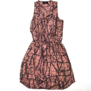Akiko Peach Geometric Watercolor Sleeveless Dress